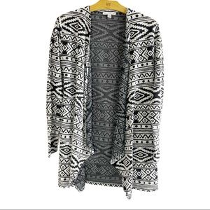 American Eagle Black White Native Southwest Open Front Cardigan Lightweight